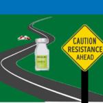 caution sign with picture of antibiotics